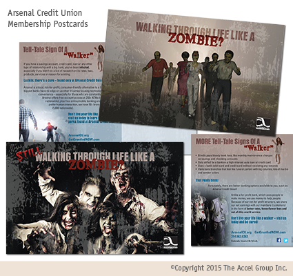 Arsenal Credit Union zombie postcards